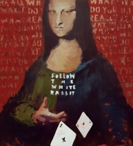 Poker [based on Leonardo da Vinci] oil / canvas, 80x90 cm, 2019. ABSENCE